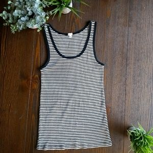 J. Crew simple black and white ribbed tank top